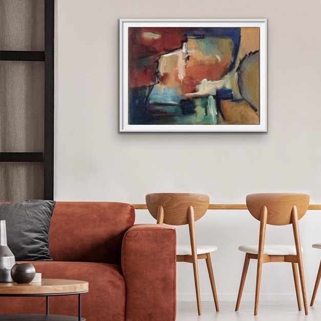 Burnt Orange abstract oil painting hanging on wall in living room