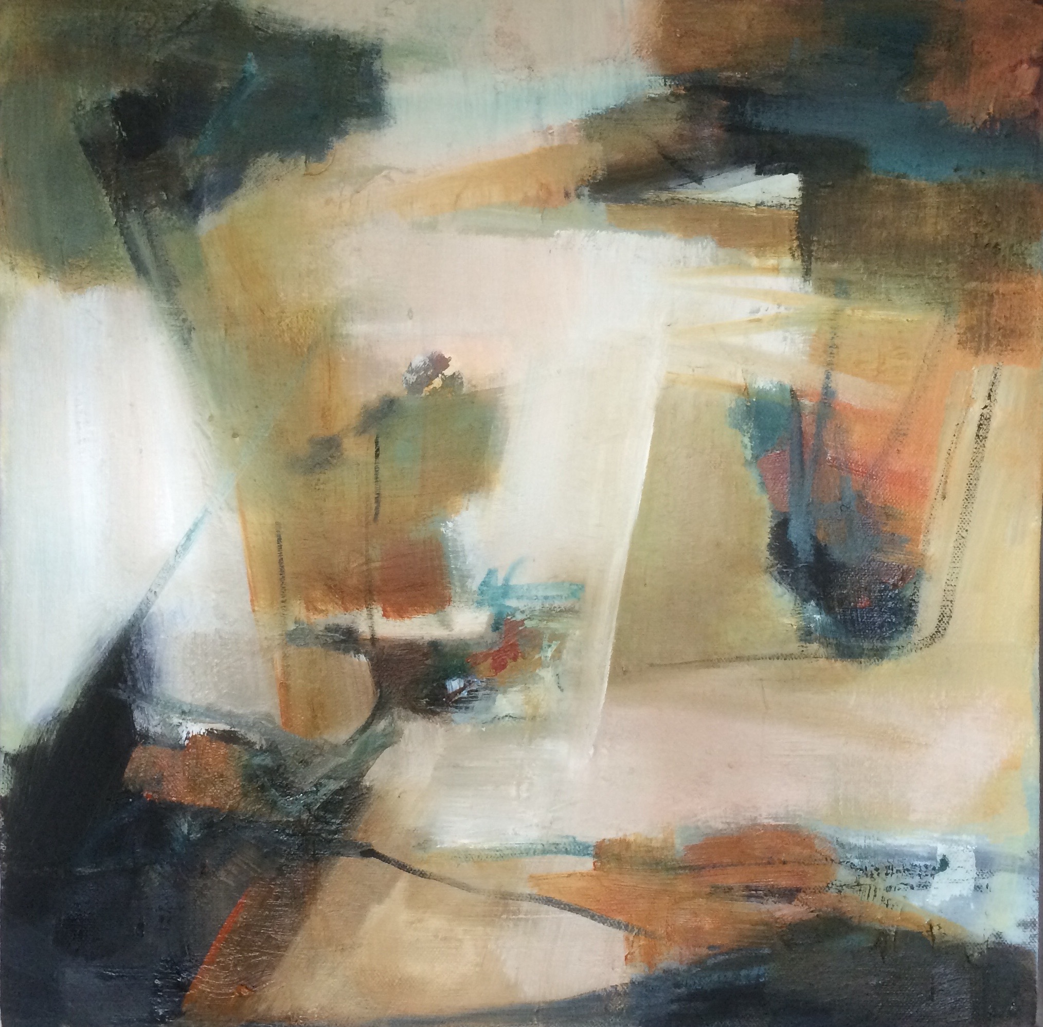 Waiting abstract oil painting