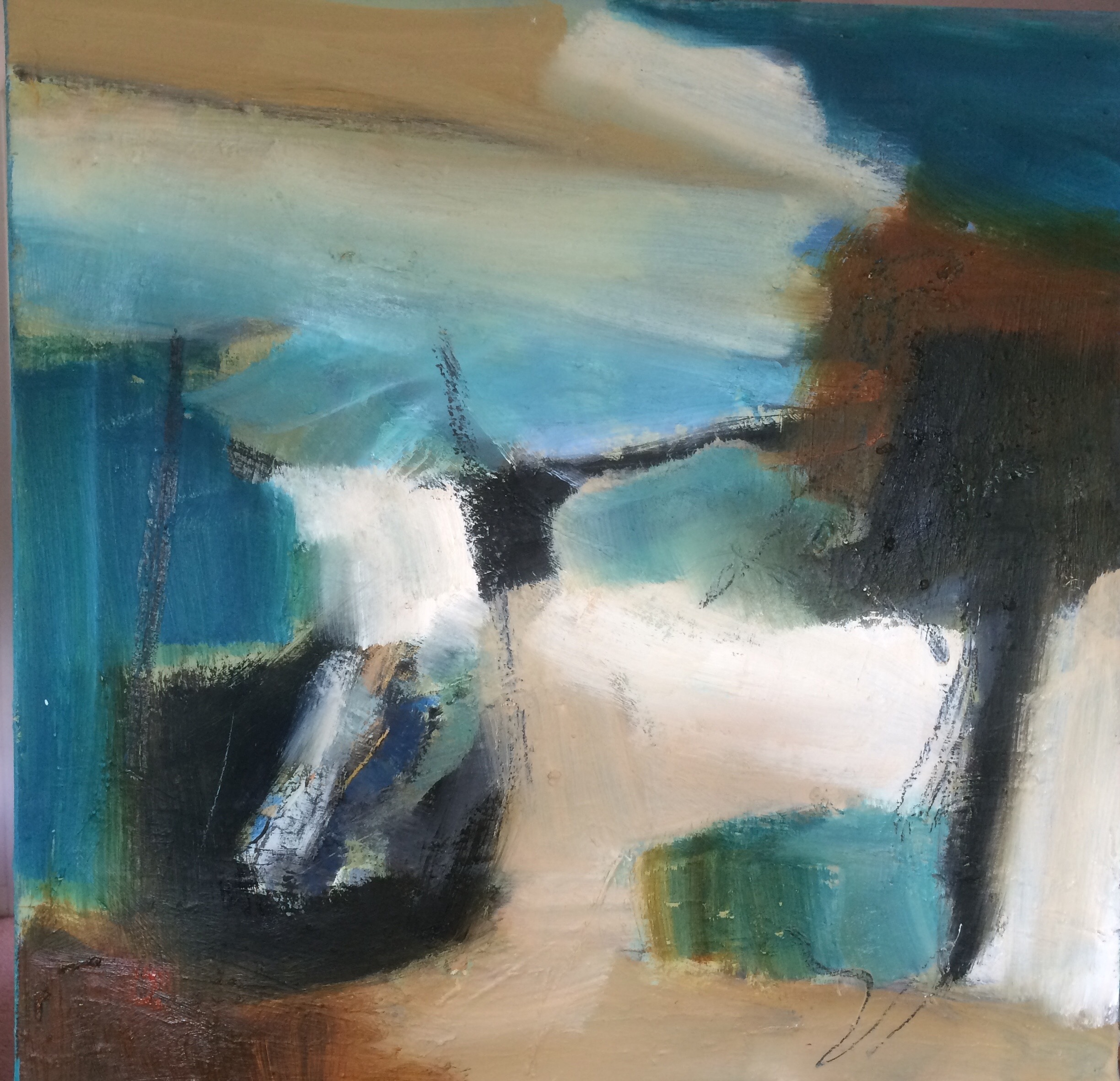 Dark Turquoise Abstract Oil Painting