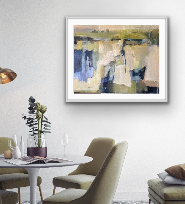 Abstract painting in modern dining room