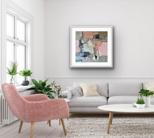 Against The Odds Abstract Oil Painting Hanging in Living Room