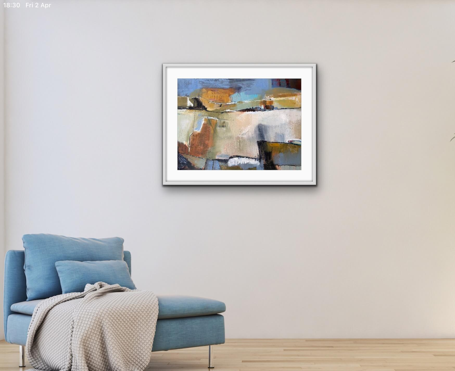 Denim Sky Abstract Painting Hanging in Living Room