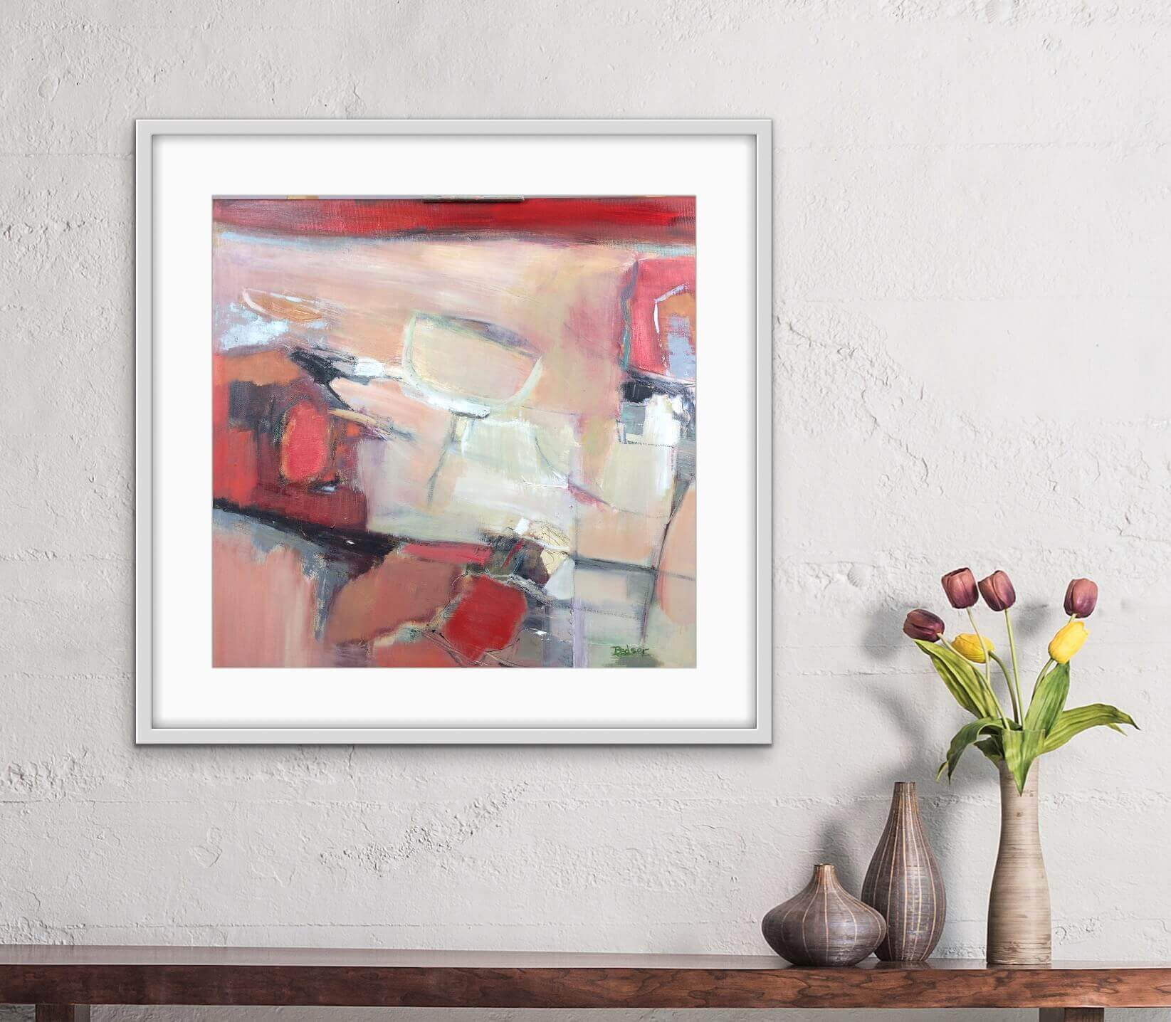 Moving Through Abstract Oil Painting Hanging in Hall Way