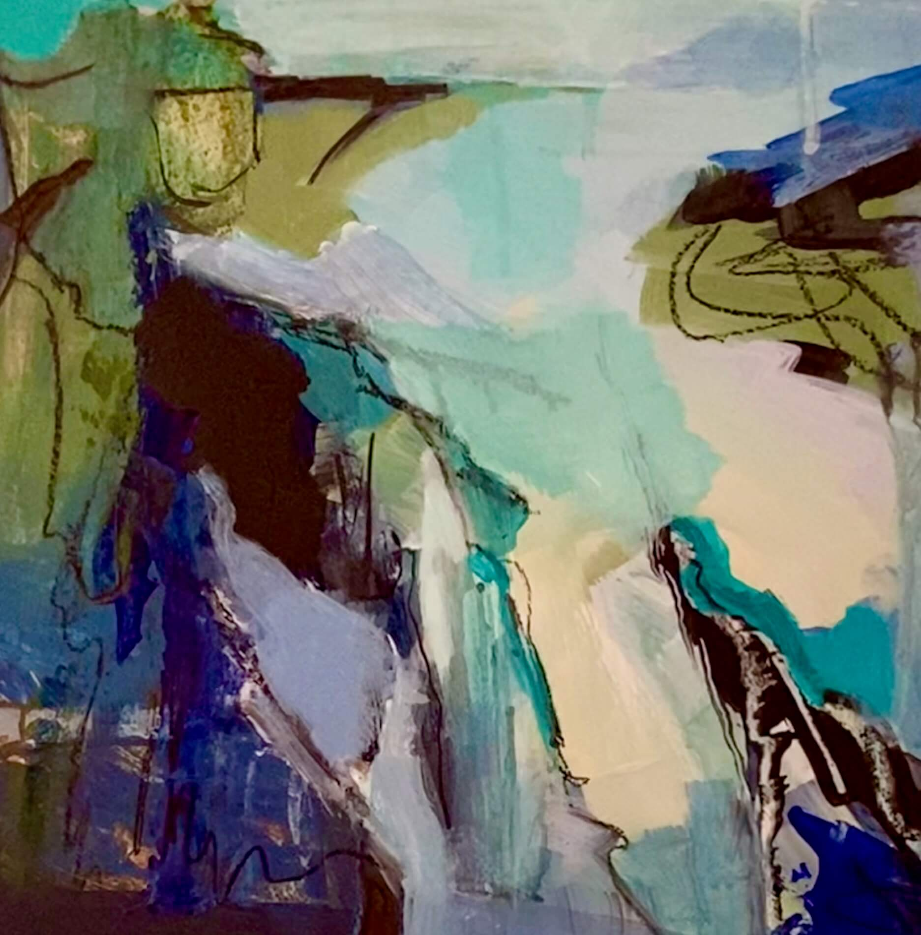 Rock Pools Abstract Painting