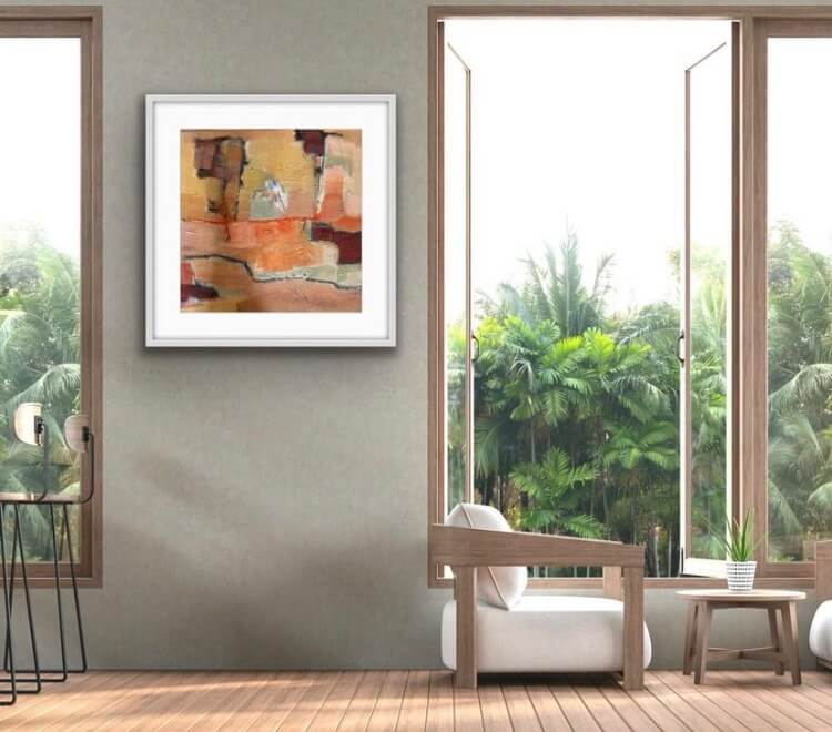 Happy Days Abstract Painting Hanging in Family Room