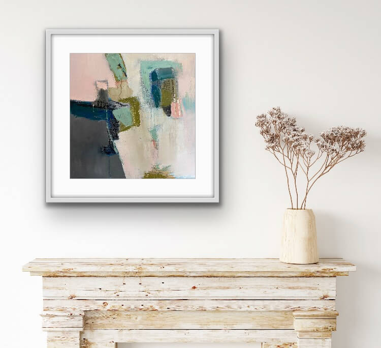 Three Is A Crowd Abstract oil painting hanging on wall in a dining room
